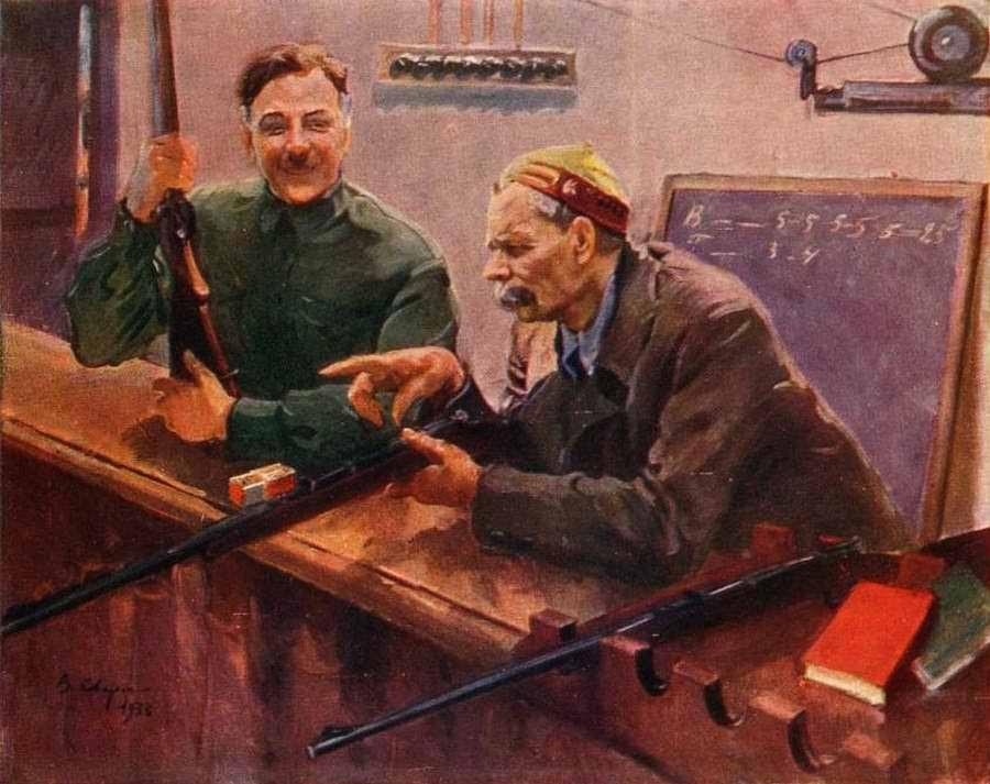 Товарищи К. Е. Ворошилов и М. Горький в тире ЦДКА - Василий Сварог (1932 год)