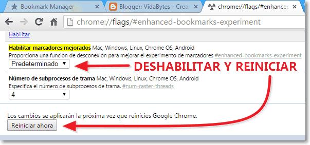 Deshabilitar marcadores mejorados Chrome