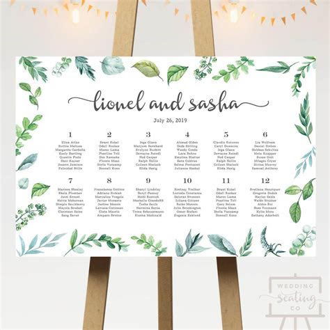 Garden Wedding Seating Chart   Wedding Seating Co