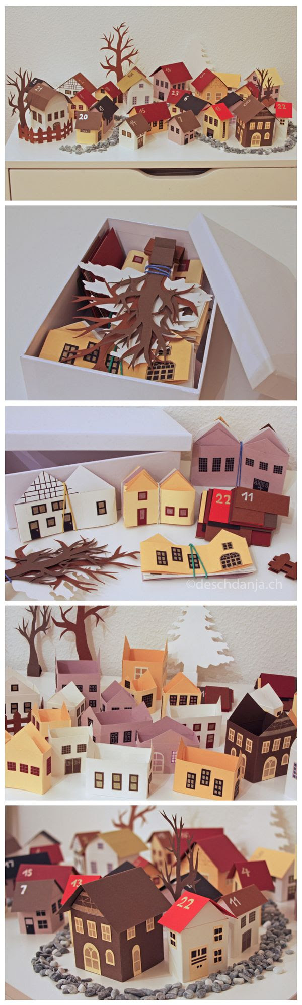 My advent calendar consists of 24 little houses made out of paper. They can be easily folded flat for storage.