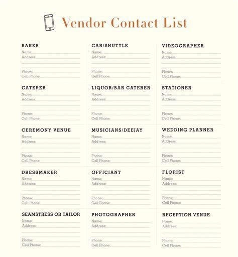 Wedding Vendor Checklist