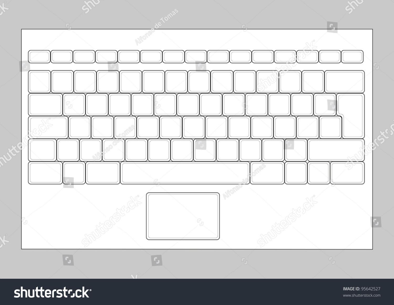 Laptop Blank Keyboard Layout Computer Input Stock Vector 95642527 ...