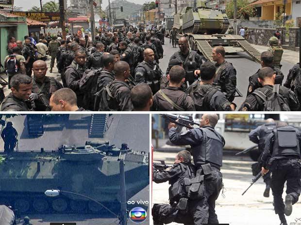 Policiais se preparam para ação na Vila Cruzeiro (acima), veículo blindado da Marinha em rua do Rio e soldados do Bope durante confronto com criminosos nesta quinta feira (25)