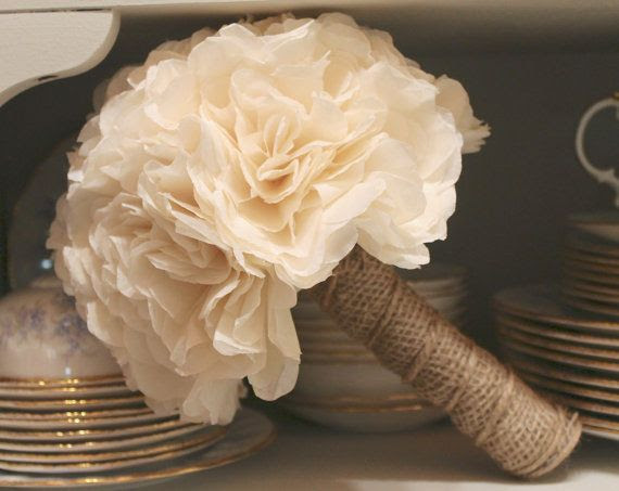 Ivory and Burlap Flower Bouquet - Paper Flowers Dyed with Tea Leaves - Wedding Bouquet - Toss Bouquet