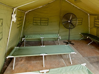 Tent accommodation at Manus Island, Papua New Guinea.