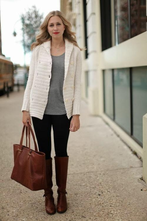 winter white cardigan / grey / black denim / cognac boots + bag / outfit