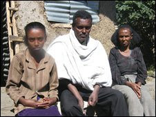 Mesele Adhena, centre, and his family at home in Korem