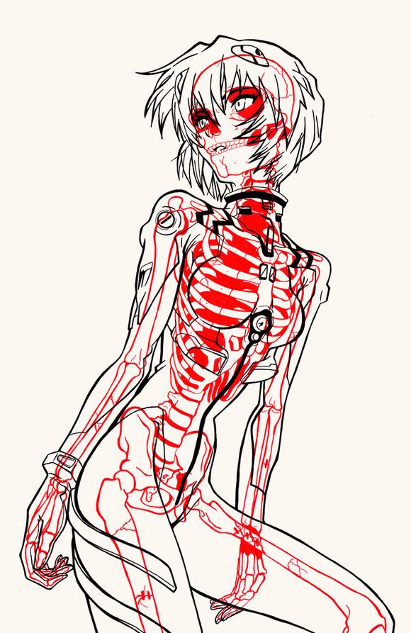 漫画やアニメのキャラクターのレントゲン写真イラストと骨格が作り出す