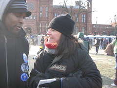 The reporter from the UK who interviewed us and took our pix.  She came up and said are you from New York?  Yes!  She was amazed, she was told to find New Yorkers and she walked by chance right into all of us!  Jamal with her here