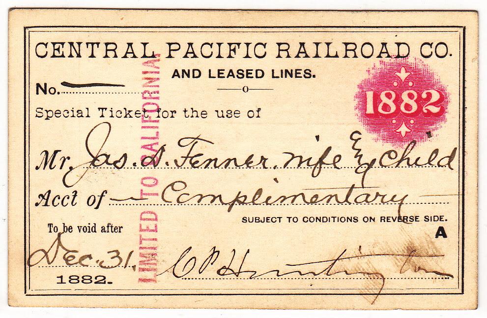 CPRR Rail Pass, 1882, compliments of C.P. Huntington