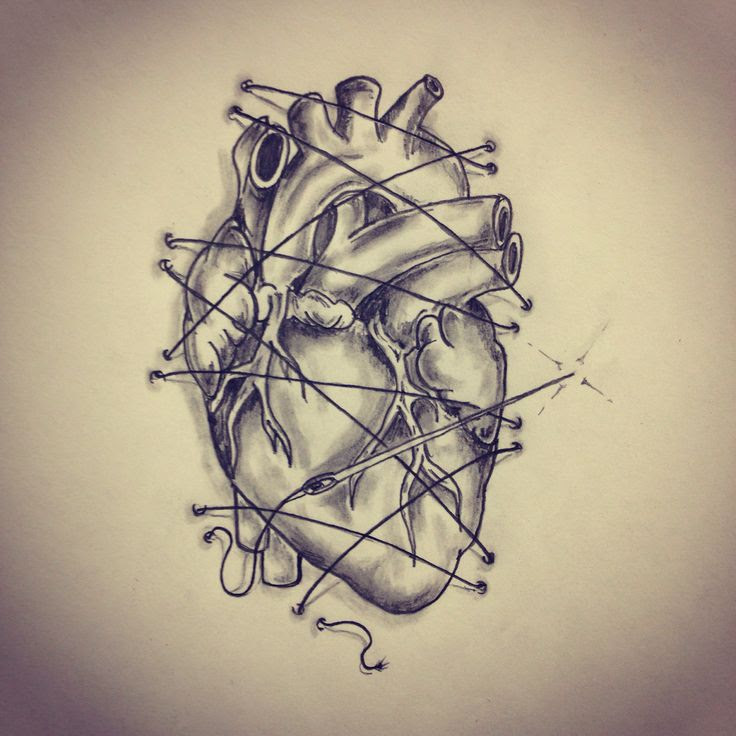 Anatomical heart threaded on the skin tattoo sketch by - Ranz