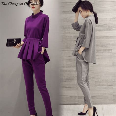Elegant Ladies Pant Suits 2016 Spring Autumn Women Formal