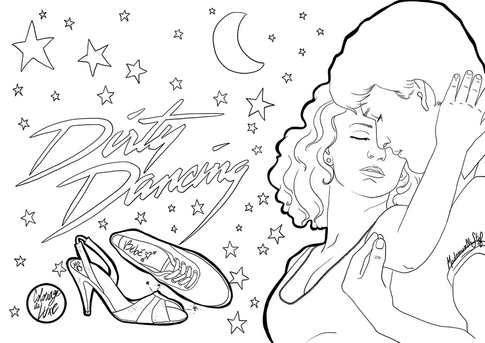 coloriage dirty dancing mademoiselle stef low