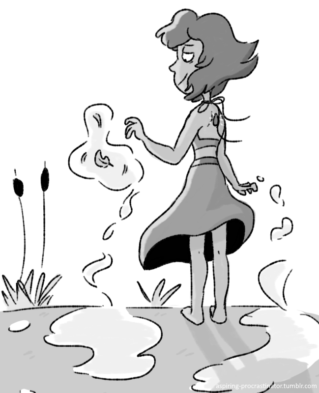 a lapis i doodled after rewatching tonight's episode 20 times i'm glad she finally feels at home or at least felt like it for a second before peridot showed up