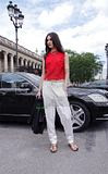 Jacquelyn Jablonski in white and red