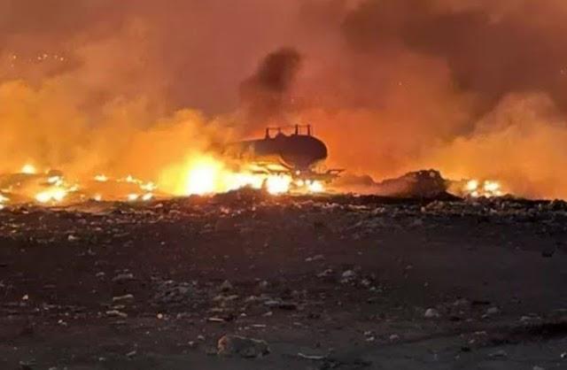 Incêndio atinge lixão de Nova Olinda e destrói carro-pipa usado para tentar apagar chamas