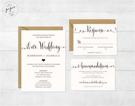 Printable Wedding Invitation Set   Wedding Invitation