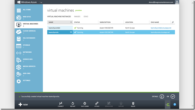 The VM is Created - a brand new Windows Server 2012
