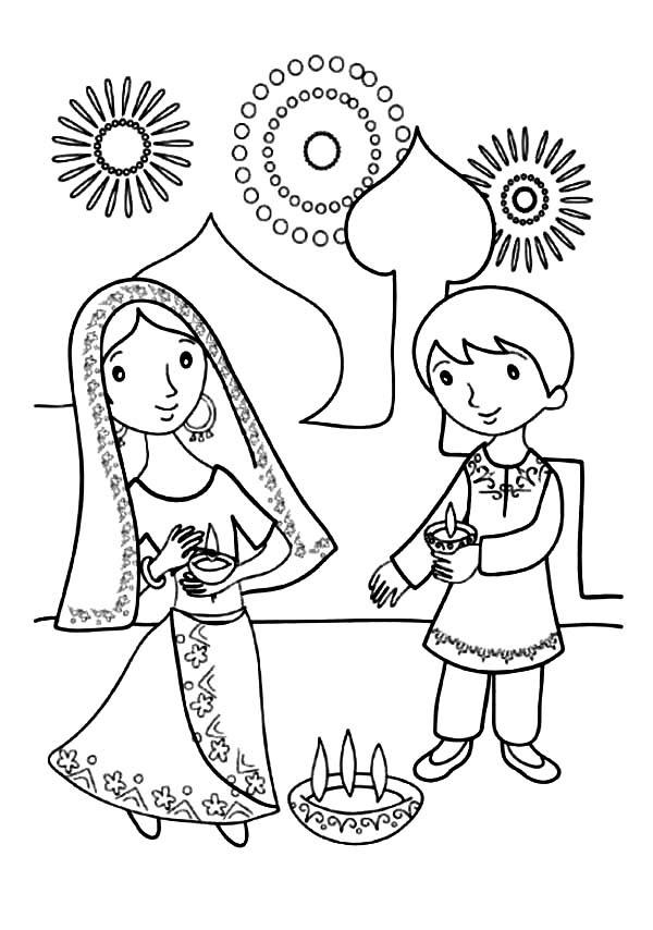 Kids Celebrate Diwali Coloring Page