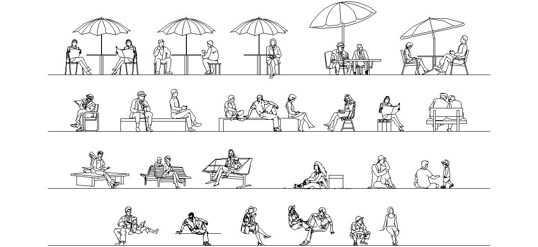 Oturan Insan çizimleri Dwg Indir