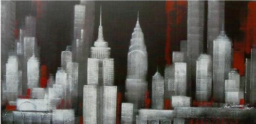 Cuadro New York Blanco Negro Rojo En Portobellostreet Es