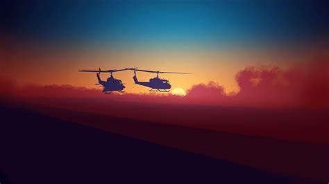 Bell UH 1 Choppers Minimal Wallpaper   HDWallpaperFX