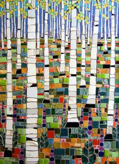 by Michael Sweere. Mosaic-tile like application of collage pieces. This could be done in a paper, glass or ceramic medium. [Would be a great way to use broken pieces of pottery from kiln accidents :-D]
