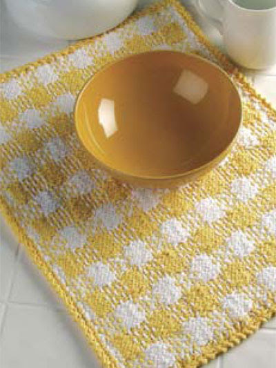 Home Decor Knitting Sunny Plaid Place Mat
