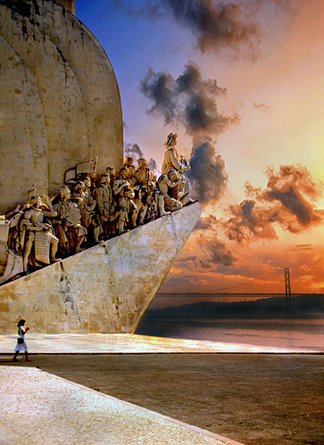 Sunset at the Monument to the Discoveries in Lisbon