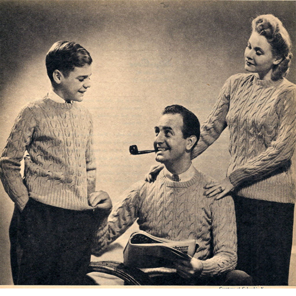 Knitting Pattern Cable Pullovers for Men, Misses, Children