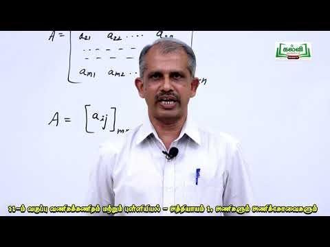 11th  Business Mathematics (m) Statistics அணிகளும் அணிக்கோவைகளும் அலகு 1பகுதி 2 Kalvi TV