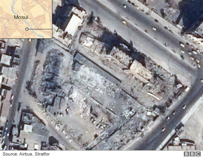 Satellite image showing damage to the Nineveh province administration building