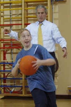 Bush & the basketball game of doom, 6.16.08   4