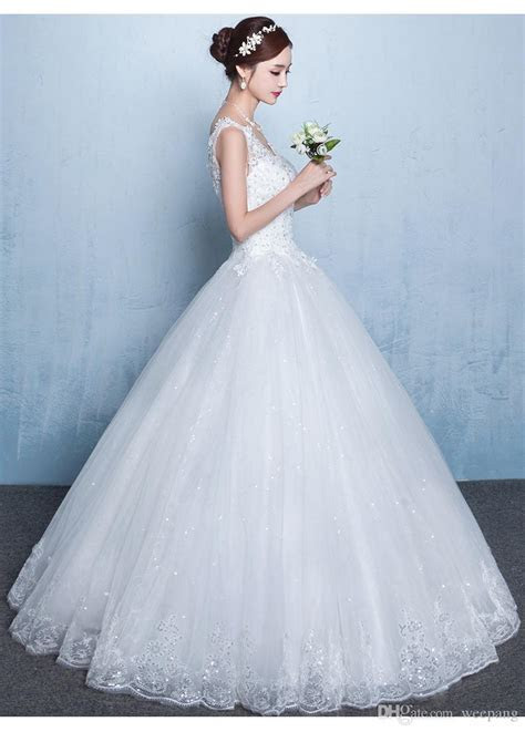 Cheap Ball Gown Wedding Dress V Neck White Lace Appliques