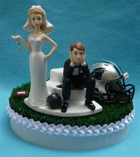 Wedding Cake Topper Carolina Panthers Football Themed Ball and