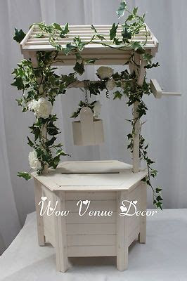Wooden Wedding wishing well white ivory card box. Incl Lid