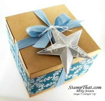 Stampin' Up! Extra-Large Gift Box decorated with Christmas Star single stamp | Becky Jensen, Stamp That
