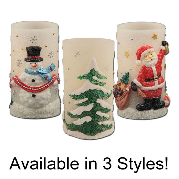 Holiday Bliss Flameless Pillar Candle with Timer   Pacific ...