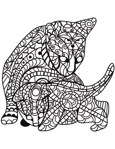 cat and kitten in zentangle style coloring page  free