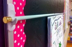 Fun With Firsties: Command hooks and a tension rod create a super easy anchor chart stand