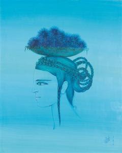 Jellal Ben Abdallah - Profil De Femme En Bleu