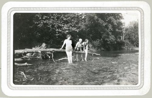 Three girls at the ole swimmin' hole.
