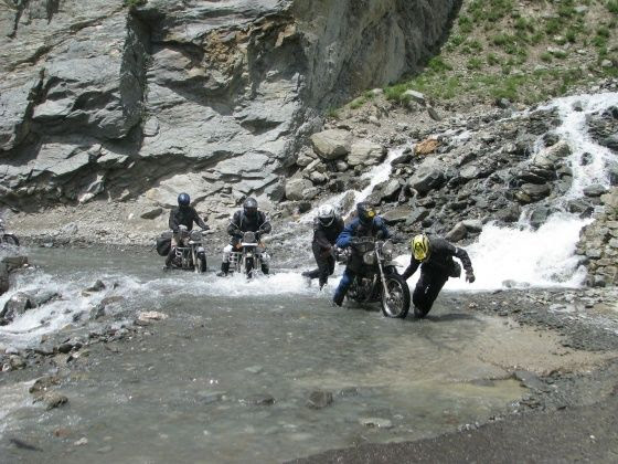 Water crossing is one of the toughest hurdle a rider can face during a Ladakh ride