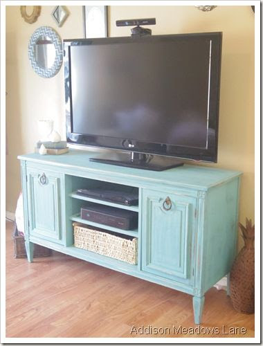 t.v. stand out of buffet! I need to make this (minus the hardware, I'd pick something a little different)