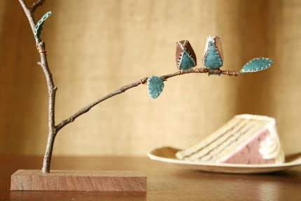 Cake Topper - Tree with Leaves and Birds on Oregon Black Walnut Base