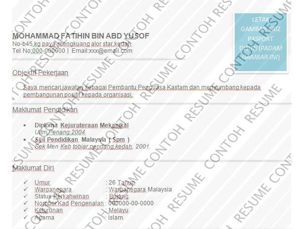 Contoh Resume Pembantu Penguasa Kastam — Contoh Resume