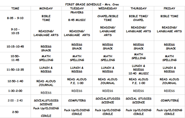 First Grade Daily Schedule | Daily Agenda Calendar