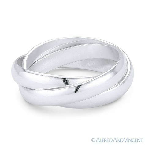 3mm Half Dome Triple Band .925 Sterling Silver Stackable