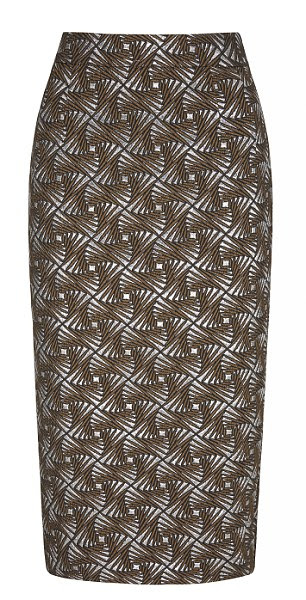 Gold textured jacquard skirt, £38, from Next