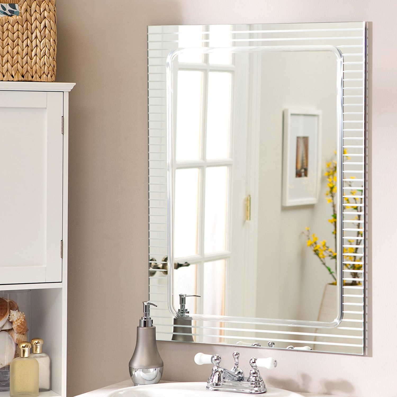 Unique Bathroom Frameless Mirror Mariesann Weblog